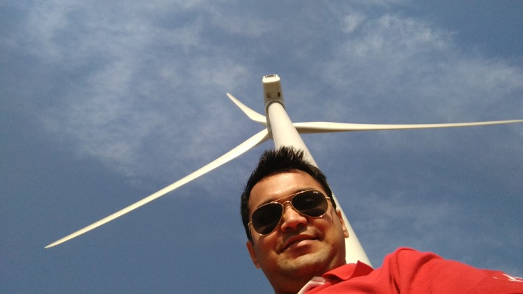 At a wind farm on Bhavnagar Highway
